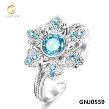 Genuine 925 Sterling Silver Gemstone Jewelry Ring Sapphire Jewelry Blue Ring For Women Adjustable Size GNJ0559
