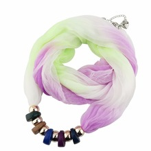 Ethnic Polyester Acrylic Collar Necklace pendant Scarf Beads beautiful Jewelry Women Lady decorate Gradient color Silk Scarves(China)