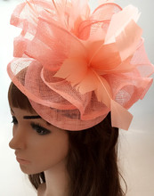 Perfct color sinamay fascinator headwear colorful mesh  feather flower party show hair accessories millinery cocktail hat MYQ109