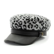 Xongkoro Leopard Print Military Hat Fluffy Flat Top Old Fashion Navy Cap Boys Girls Thick Army Hat For Men Women(China)