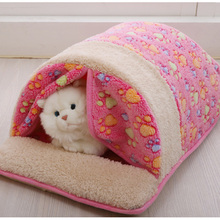 1pc Cute House Shape Pet Dog Bed Warm Soft Dogs Kennel Dog House Pet Sleeping Bag Cat Bed Cat House Cama Perro