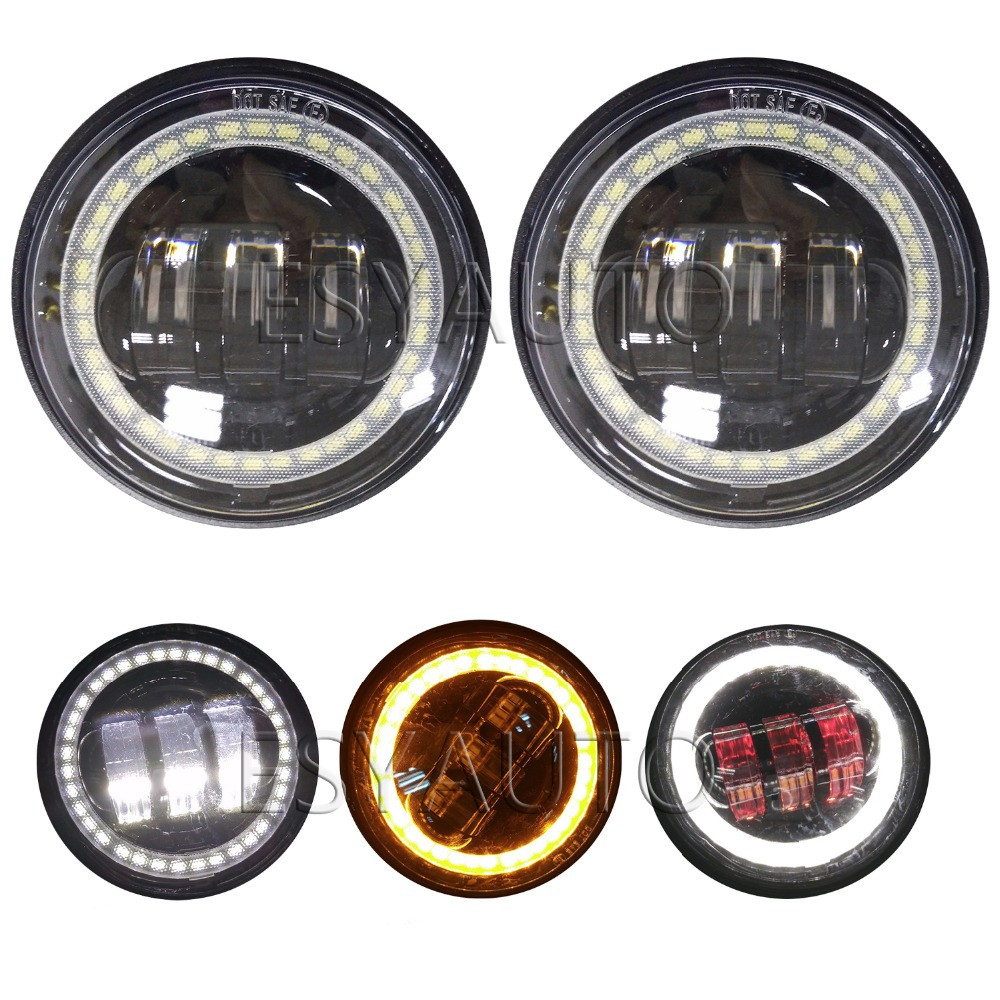 1 Pair 4.5 Led amber Halo Fog Light 4.5 Inch With DRL Turn Signal Light Halo 30 W LED Fog Lamp Fog Light for Harley Motorcycle <br>