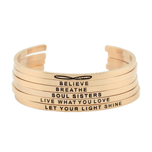 New arrival! stainless steel open cuff bracelet rose gold Hand Stamped Bracelets Bangle Inspirational bracelets bangles jewelry(China)
