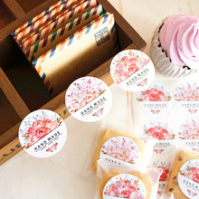 "90pcs/lot new product 3 styles Round ""hand made"" seal sticker  baking products sealing sticker lable packaging sticker"