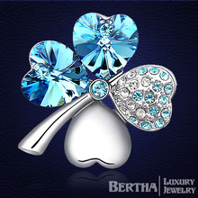 Exquisite Clover Brooch Genuine Crystal From Swarovski Bijoux Broches Mujer Girlfriend Valentine'S Day Gift