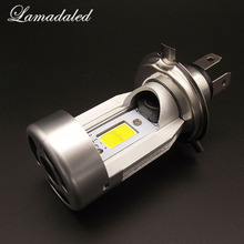 Lamadaled H4 2000lm 6500k led motorcycle headlamp 20w COB Hi/Lo beam bulb moped scooter motorbike headlight halogen replacement(China)