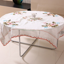 Chinese Handmade Ribbon Embroidery Table Cloth Round Tablecloth Rectangular Covers Home Decor Toalhas De Mesa Bordada 145x215cm(China)