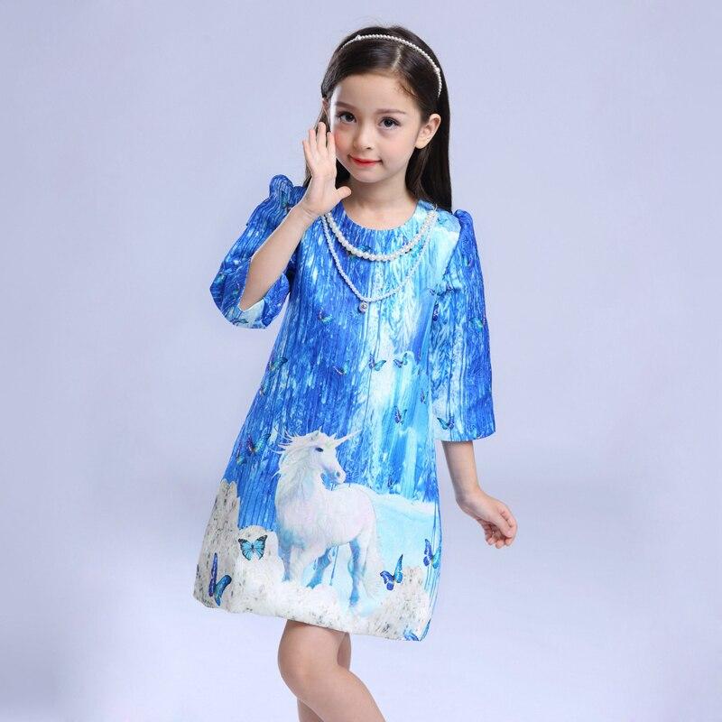 2017 Autumn girls dress mother &amp; kids clothes girls clothing Europe &amp; America blue sky Printing princess dress children clothes<br><br>Aliexpress