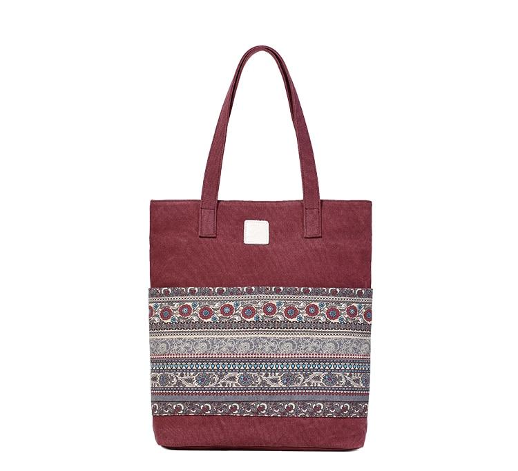 Canvasartisan Brand new canvas women handbags floral vintage female shopping shoulder bag zipper closure tote hand bags 14