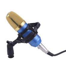 Professional Studio Broadcasting BM-700 Condenser Sound Studio Recording Broadcasting Microphone + Shock Mount Holder black