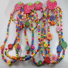 Wholesale 3Set (3 Wood Bracelets +3wood Necklace) Kids Childrens Birthday Party Necklace Bracelet Jewelry