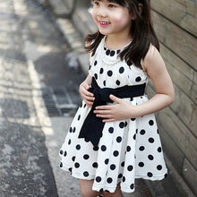 Kids Girls Polka Dot Chiffon Sundress Toddler Tunic Bowknot Belt Dress