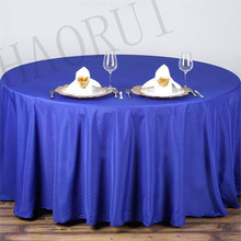 12 Colours 10pcs Customize Tablecloths Polyester Cotton Fabric 120''Round Luxury Dining Tablecloth Weddings Party FREE SHIPPING