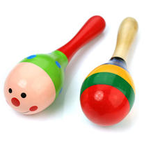 2pcs Cute Colorful Wooden Mini Maraca Rattles Shaker Kids Child Baby Musical Party Toy Beach Sand Hammer Toys(China)