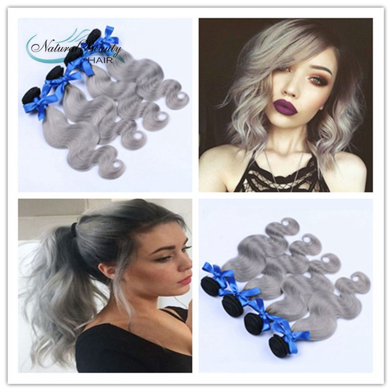 Peruvian Body Wave Humain Hair Extension Ombre Silver Hair Gray Hair Extensions 8A Peruvian Virgin Human Hair 4pcs/Lot<br><br>Aliexpress