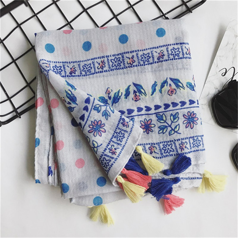 Hot sale print colors dot floral foulard tassels Muslim hijab women scarf pashmina bandana silk wraps shawls FreeShip 10pcs/lot