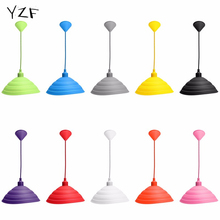 YZF New Modern E27 Simple Colorful Silicone Pendant Lights Fashion DIY Design Color Children Bedroom Restaurant Pendant Lamp