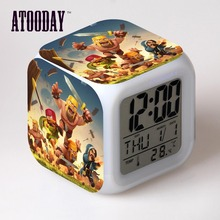 ATOODAY Alarm Clock Led Light 7 Color Change Lcd Display Desk Accessories Desk Table Plastic Digital-Watch Vintage