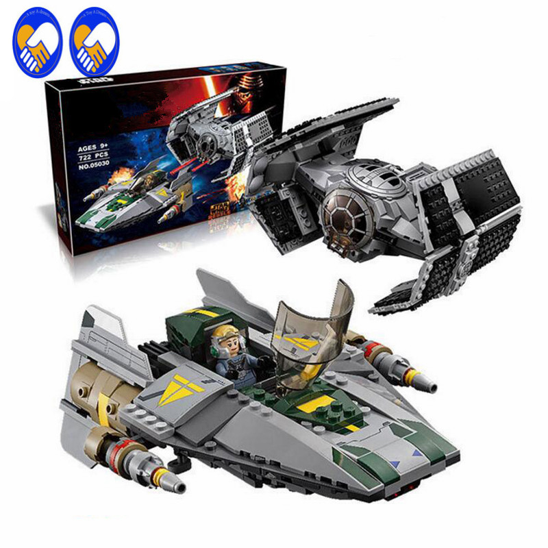 A Toy A Dream LEPIN Star Wars 05030 Vader Tie Advanced VS A-wing Starfighter 75150 Lepin Building Bricks Compatible Lepin Toy<br>