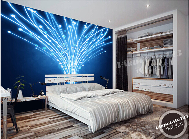 The latest custom 3D murals, blue fantasy dynamic line abstract wallpaper, KTV bar background wall paper<br>