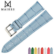 MAIKES New watch accessories 12mm-22mm watchbands women blue genuine leather watch strap wristband for Citizen watch band
