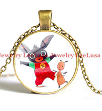 GB Bing Bunny Cute rabbit Picture Pendant Necklace Jewelry Glass Cabochon Necklace gift for kids/children(China)