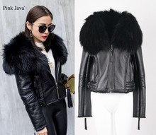 pink java QC5032 natural raccoon fur collar genuine leather jacket shearling coat for women winter outfit(China)