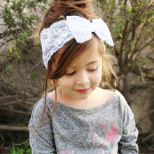 1Piece Baby Girls Children Cute Lace Bow Tie Headband Lace Bow Hair Accessories 8 Color Hairband High Quality Cloth Material(China)