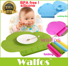 WALFOS food grade silicone Baby bib Table Mat Infant Tiny Diner Portable Placemat for kids Baby Feeding silicone baby placemat