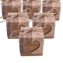 100 Pcs/ot Heart In Love Kraft Candy Box with Burlap Chic Vintage Wedding Favor Gift Boxes 5*5*5CM pacco regalo