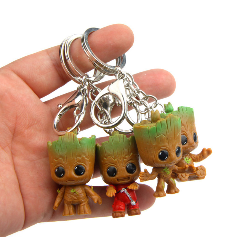 4 PCS Baby Groot Guardian of the Galaxy Key Chains Key Rings Groot Keychain Keyring Flower Pot Avengers 3 Action Figure Ornament