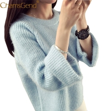 Chamsgend knitted sweater women pullover 2017 Autumn winter O neck pink gray Solid Basic Outerwear cashmere jersey hot sale 77#(China)