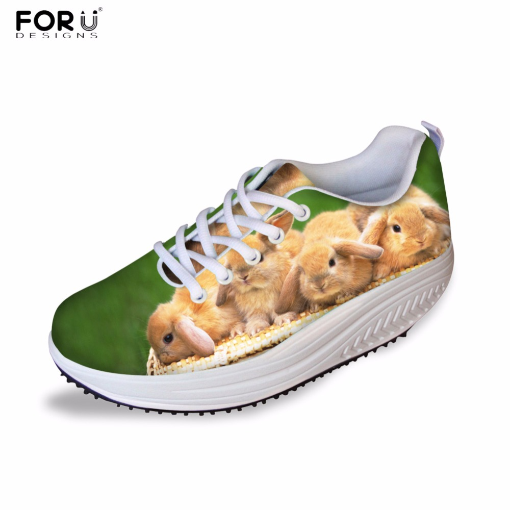 FORUDESIGNS Women Casual Wedge Platform Shoes 3D Animal Rabbit Printed Height Increasing Shoes Shape Ups for Female Swing Shoes <br>