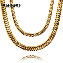JFY Heavy Mens Gold Color Finish Thick Miami Cuban Link Necklace Chain 8mm Gold Chain For Men Gift Fashion Hip Hop Jewelry(China)