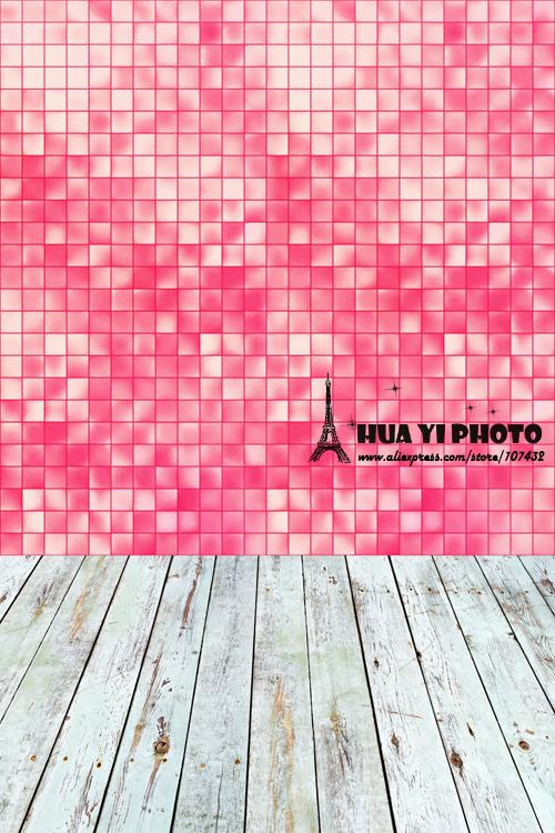 5x10ft(1.5x3m) light coral mosaic studio photo backfrop made of  Art fabric printed with white floor for newborn D-9734<br>