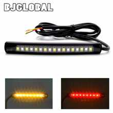 2016 New Universal 2835SMD LED Motorcycle car Flexible Tail Brake and Turn Signal  Strip License Plate Lights Flashing