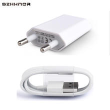 Cheap 1M White 8 Pin USB Sync Data Charger Cable + EU Plug USB AC Wall Charging Power Adapter for iPhone 5 5S 6 6S Plus 7 Plus(China)