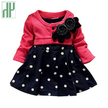 HH Baby girl dress princess autumn Dots dress wedding kids party dresses baby frock designs christening 1 year birthday dress(China)