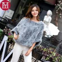 2017 new style real rex rabbit fur poncho 100% natural rex rabbit fur shawl with real raccoon fur women winter fur pashmina