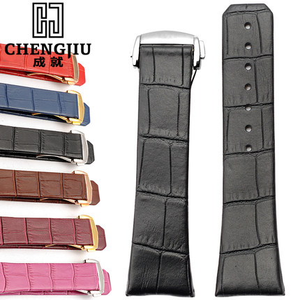 Notch End 23x18mm Calf Leather Watch band For Omega/Constellation Wrist Bracelet Montre Band Belt Deployment Fold Buckle Strap<br>