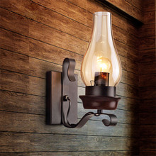 American Iron Art Kerosene glass LampShade Vintage Wall Lamps,Loft Style Retro Edison Wall lights Stair Light Lighting Fixtures(China)