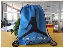 35*45 cm basketball logo sports knitted polyester drawstring backpack Metal Grommets