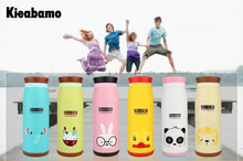 Kieabamo Cartoon Animal Thermos Cup Bottle Stainless Steel Thermocup Vacuum Thermal Mug 250ml/350ml/500ml