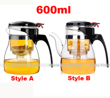 [HT!]]Wholesale 600ml heat resistant glass tea pot,best selling flower tea set puer teapot blooming teapots with filter/strainer