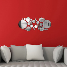 Silver Circles Mirror Acrylic Wall Stickers Office 3D DIY Home Decor 30Pcs
