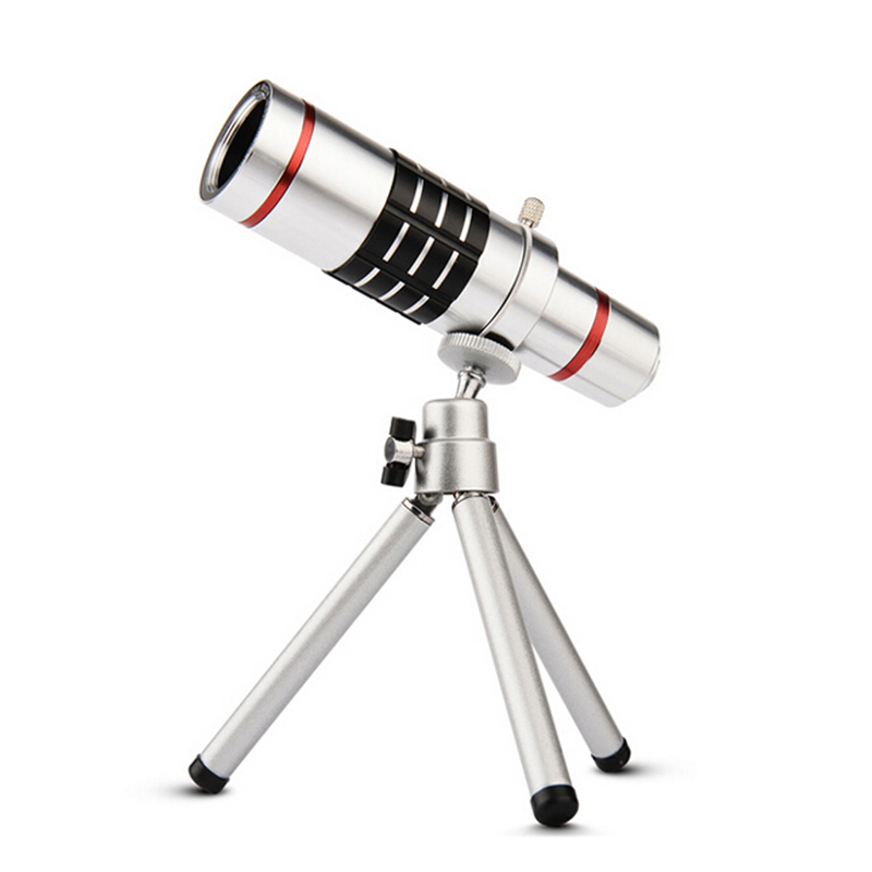 Universal 18x zoom lens Magnification Optical Camera Telephoto Lens Telescope With mini Tripod For Iphone Smartphone Silver 7