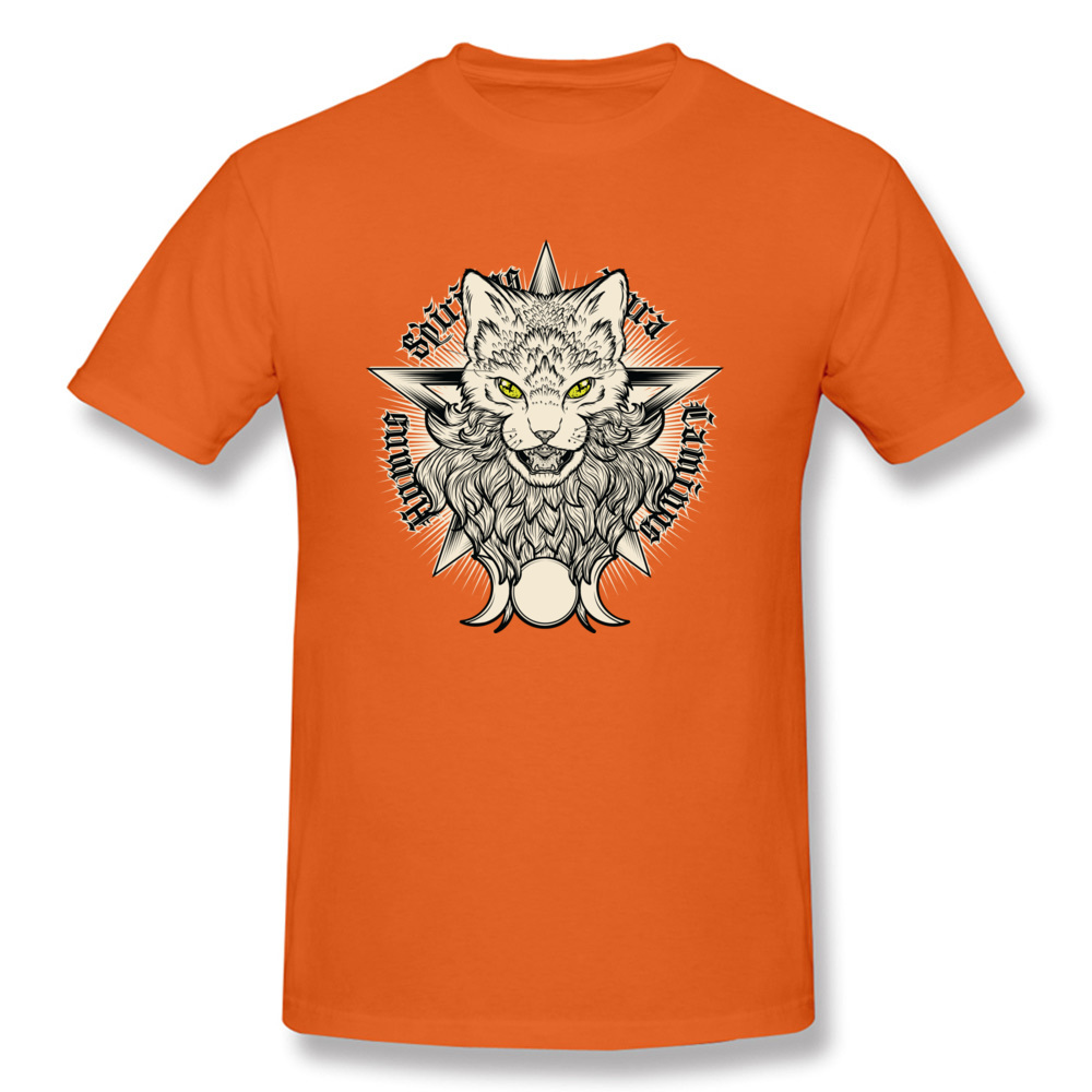Wiccat O-Neck Top T-shirts Fall Tops Shirt Short Sleeve Company 100% Cotton Design Top T-shirts Leisure Men Wholesale Wiccat orange