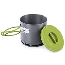 1.2L Portable Anodized Aluminum 1-2 People Outdoor Non-stick Camping Pot Cooking Set Heat Collecting Exchanger Cooking Pot