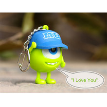 10units/lot Monsters 3D Cartoon figure Led Mick Wazowski Keychain Green Big Eye Talking light Key Ring Toys Christmas Halloween