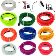 1m/2m/3m/5m Flexible Car EL Wire Neon Light Dance Festival led strip EL light DC12V drive Band sewing edge 3V Battery Controller(China)